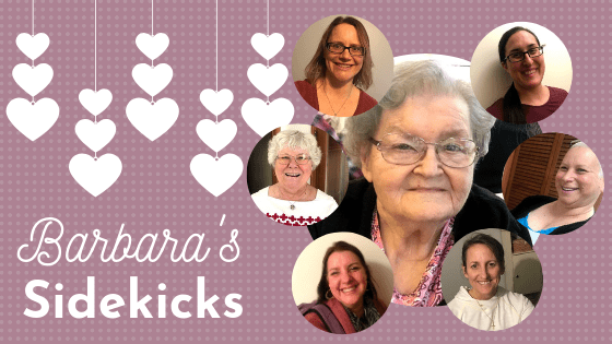 Graphic: Barbara's Sidekicks - Photo of Barbara with sidekicks all around