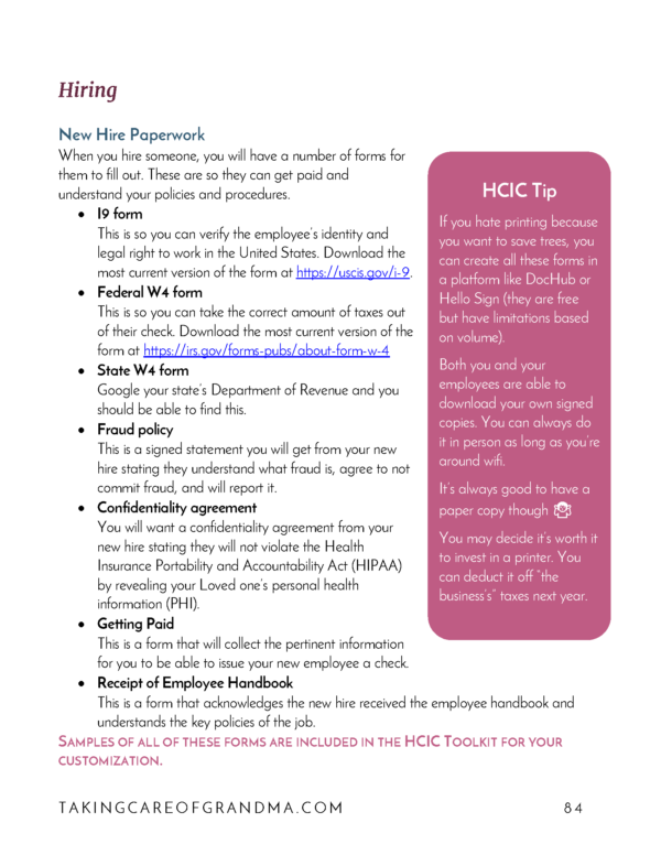 Head Caregiver in Charge HCIC Complete Handbook new hire packet preview