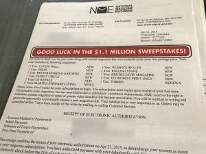 Photo: Example of magazine mail scam