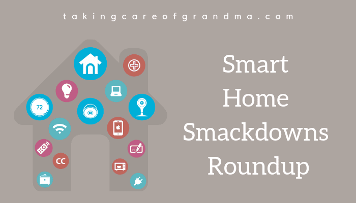 Graphic: Home filled in with icons of technology and text: Smart Home Smackdowns Roundup
