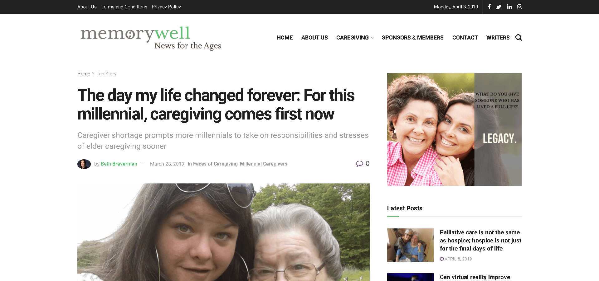 Screenshot: MemoryWell feature The Day my Life Changed Forever