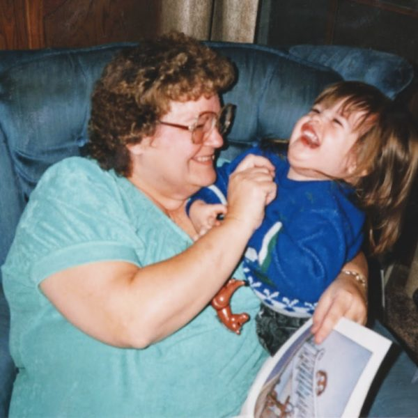 Photo: Barbara holding a young Rachel, Rachel laughing