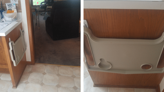 Two photos: left - walker tray hangs on the cabinet right in the entryway to the kitchen; right - closeup of walker tray hanging with Command Adhesives | TakingCareofGrandma.com